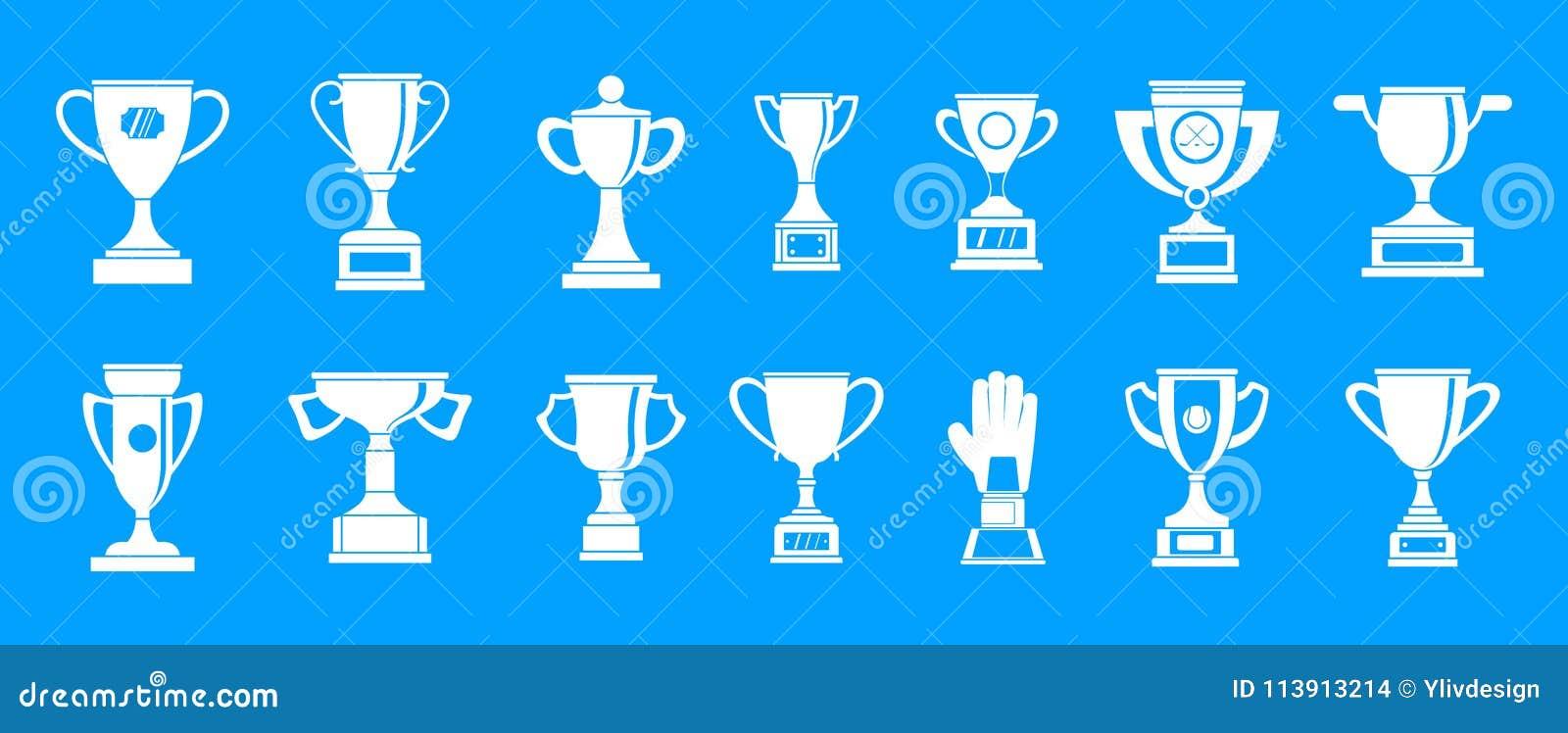 Trophy Cup Icon Blue Set Vector