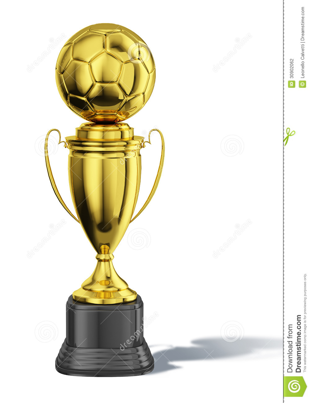Trophy cup, with a soccer ball at the top. All in gold, with black ...