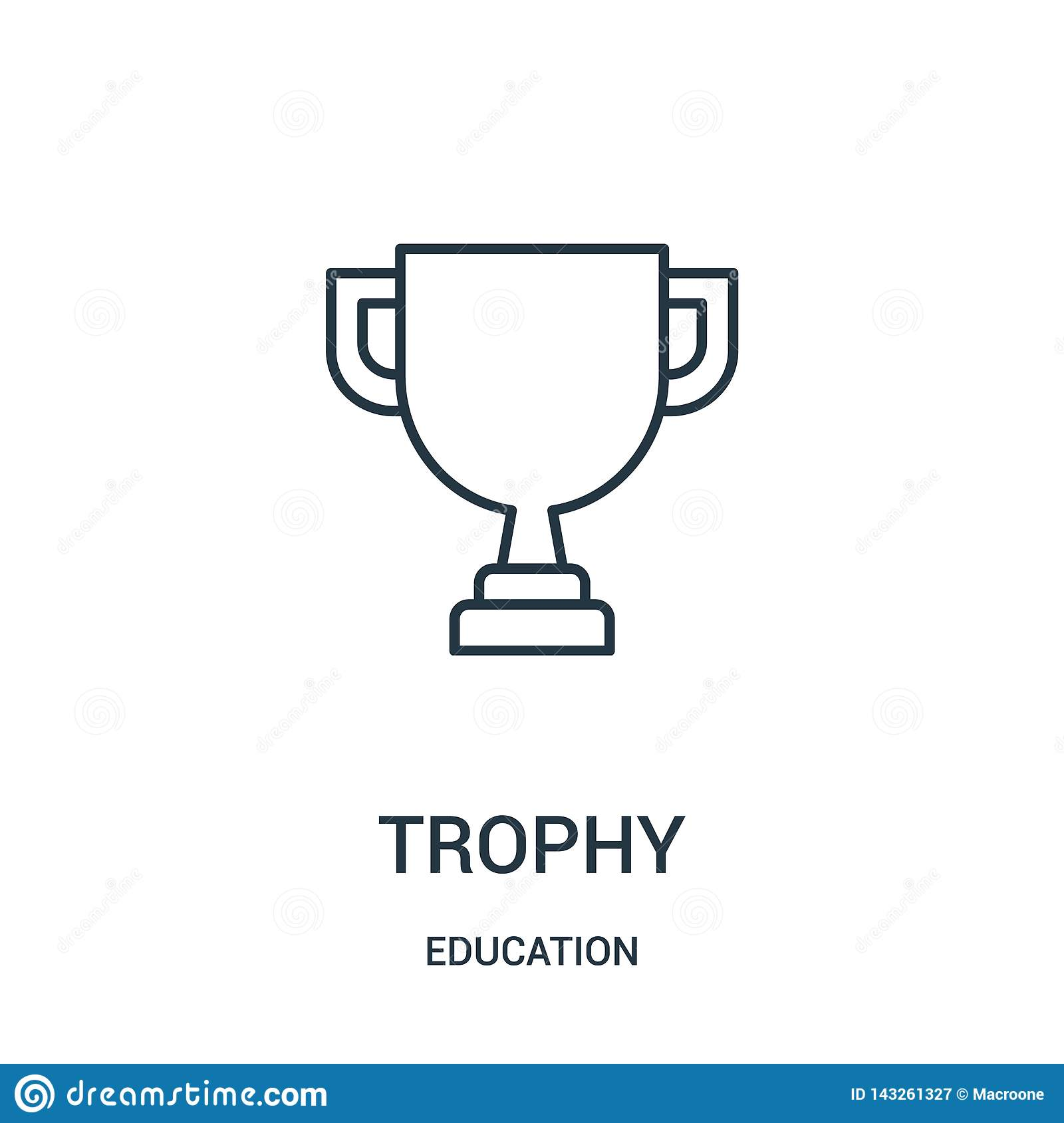 trophy icon vector from education collection. Thin line trophy outline icon vector illustration