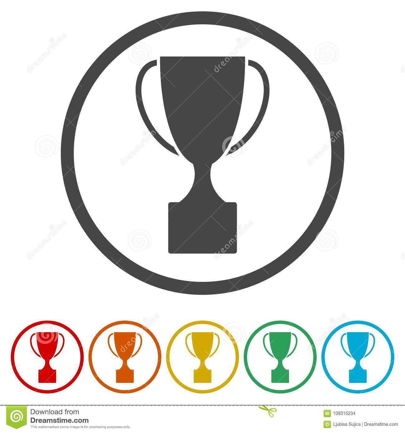 Trophy Sign Icon Cup Flat 6 Colors Included Stock