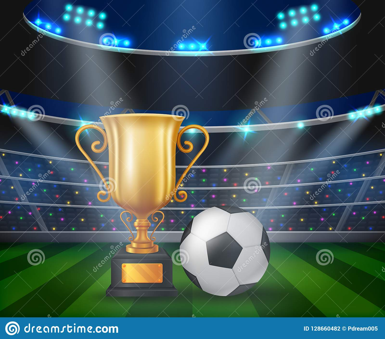 trophy and soccer ball on the podium with a football stadium background stock vector illustration of success prize 128660482 https www dreamstime com trophy soccer ball podium football stadium background illustration image128660482