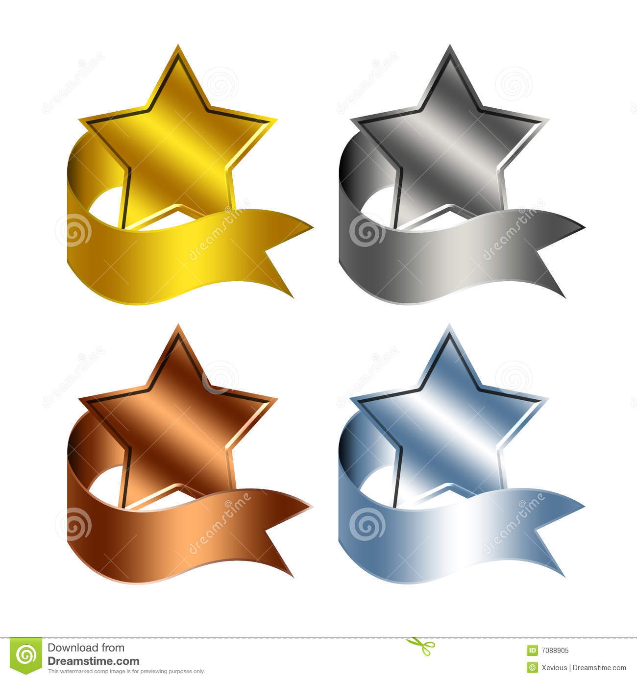 Trophy Stars Reward Ribbon Royalty Free Stock Photo