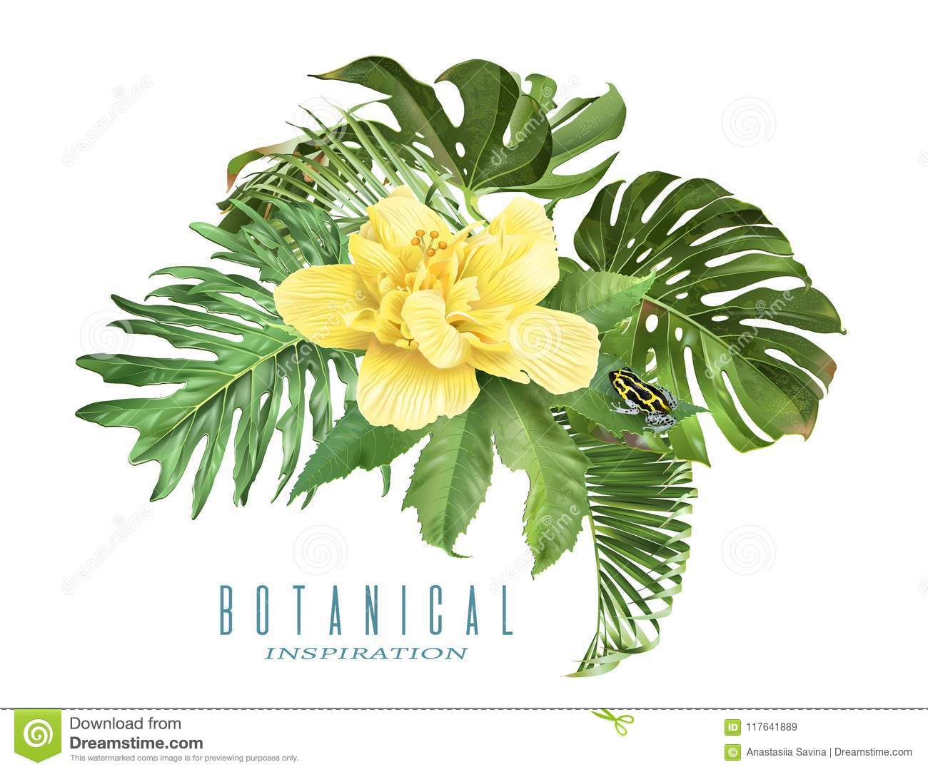 Tropic Leaves Composition Stock Vector Illustration Of Card 117641889