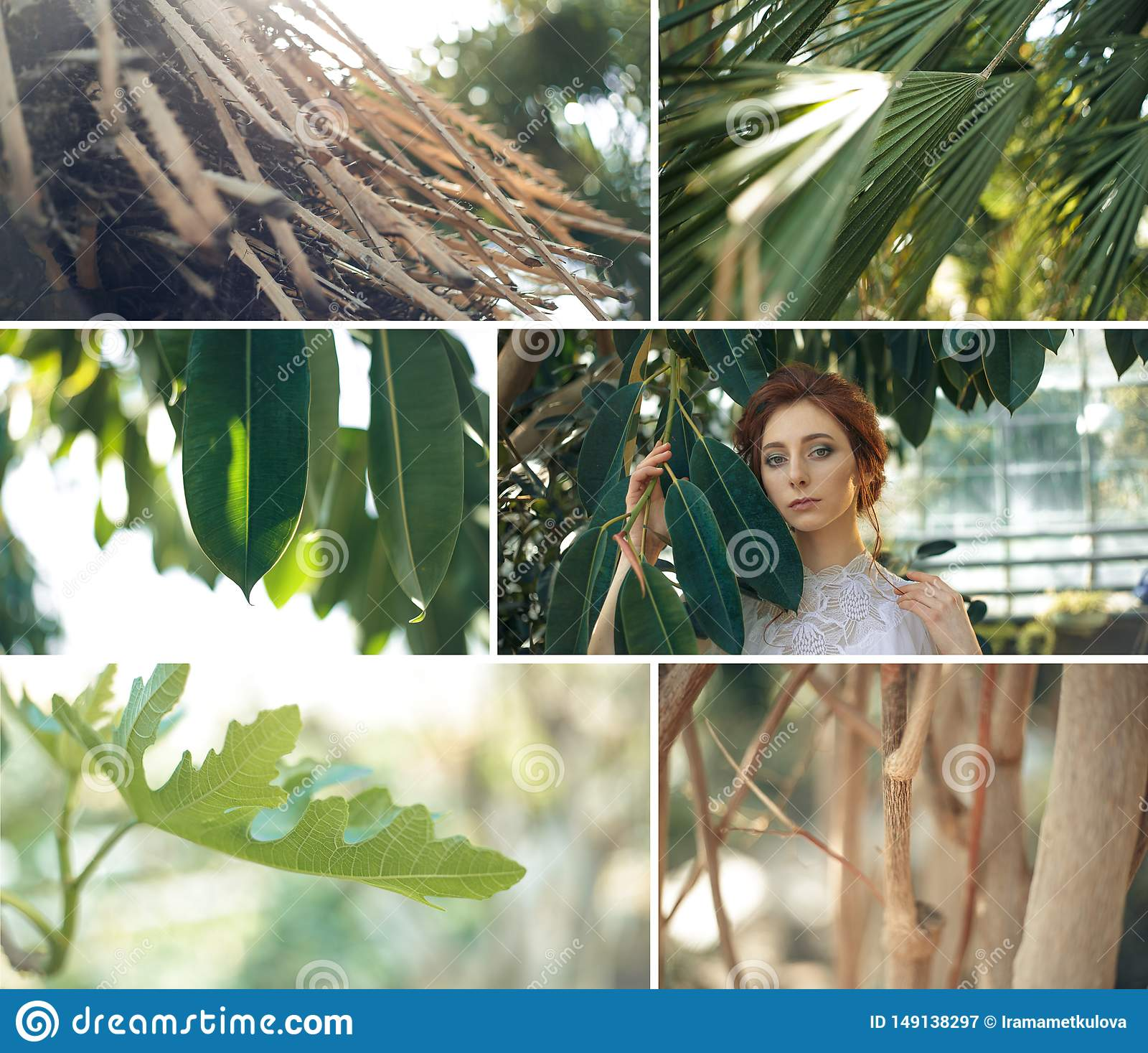 Tropic garden plants collage with red hair girl