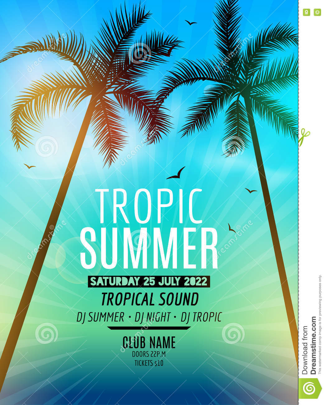 Tropic Summer Beach Party Tropic Summer Vacation And Travel Tropical Poster Colorful Background And Palm Exotic Island Illustration 72486827 Megapixl