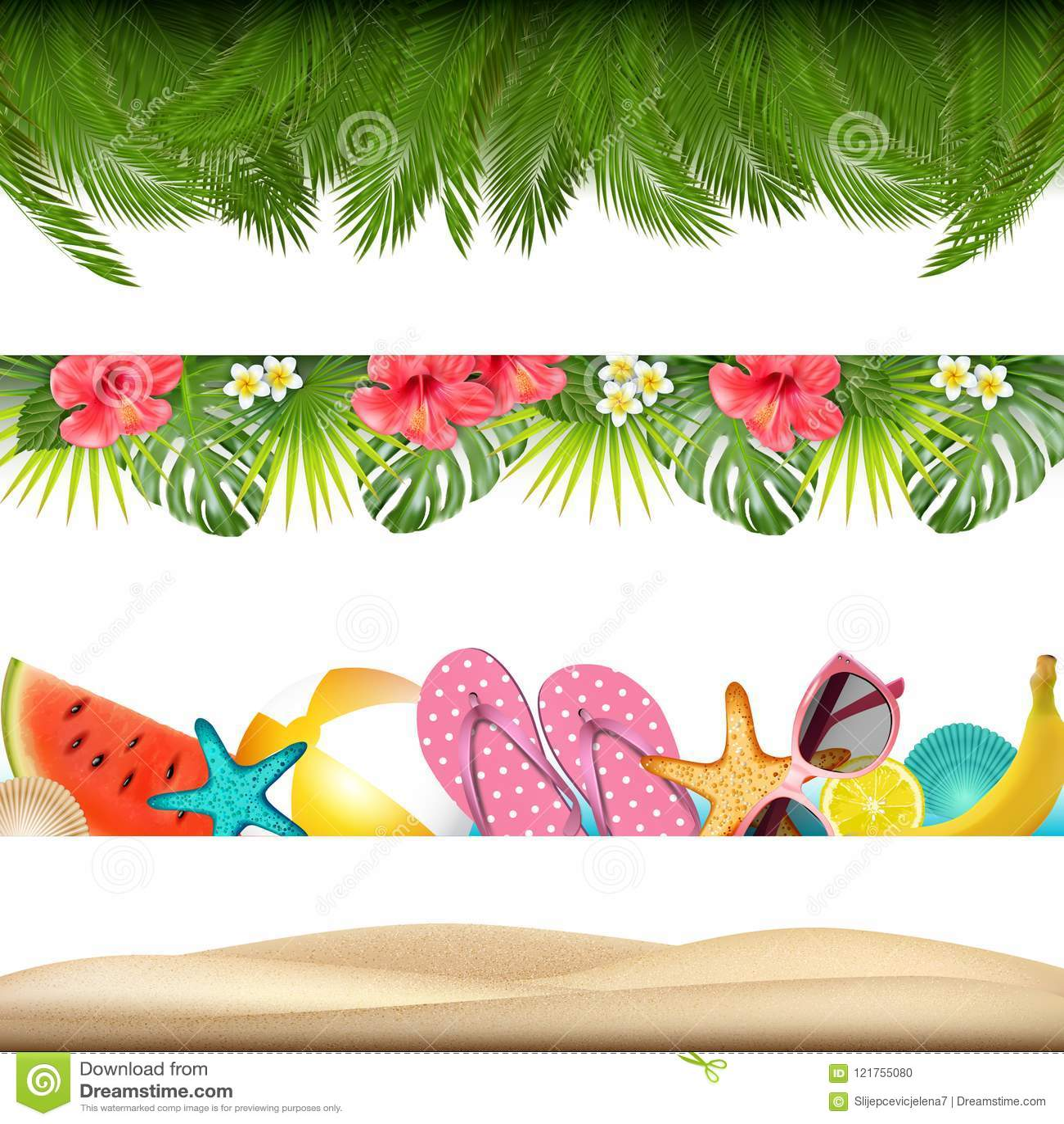Tropic Summer Borders. Vector Stock Vector - Illustration ...