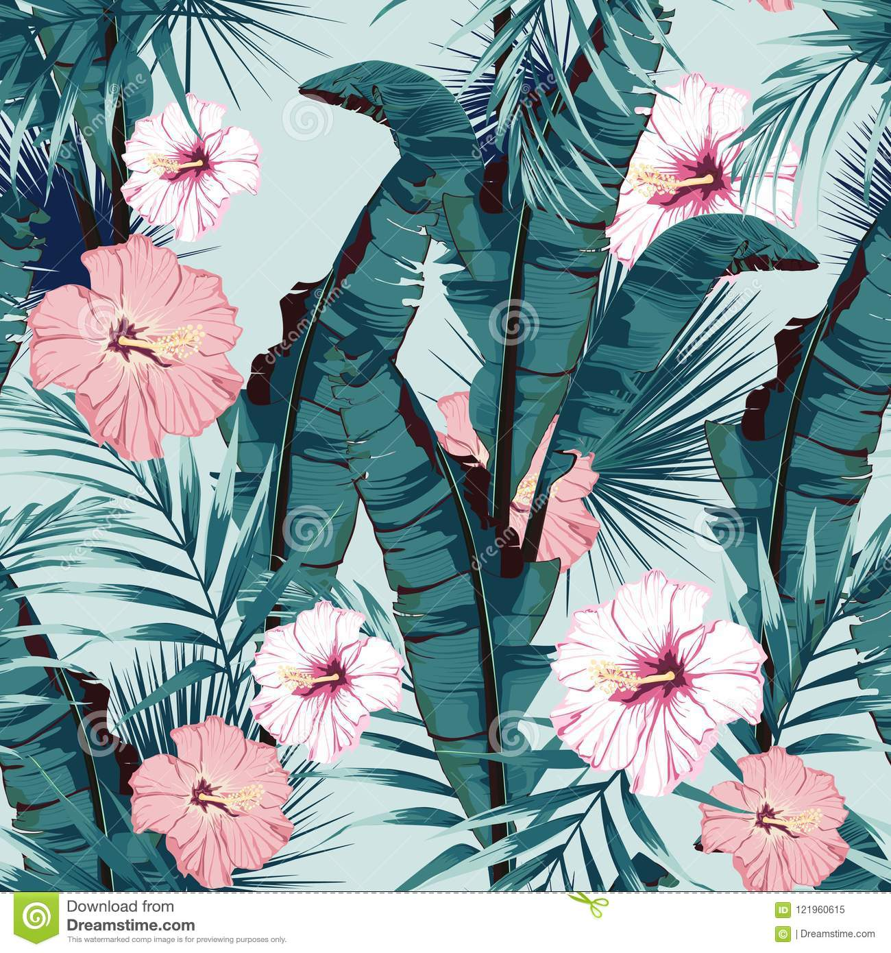 Tropic summer painting seamless vector pattern with palm banana leaf and plants. Floral jungle hibiscus paradise flowers.