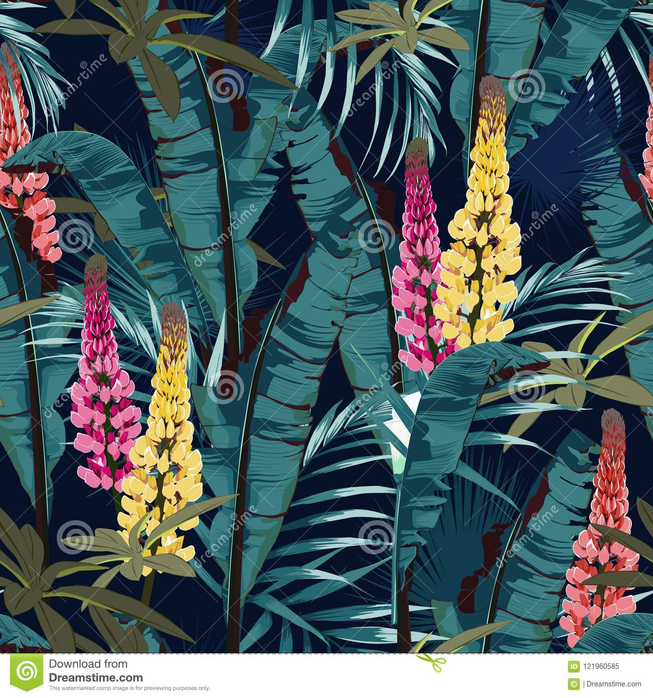 Tropic summer painting seamless vector pattern with palm banana leaf and plants. Floral jungle lupines paradise flowers.