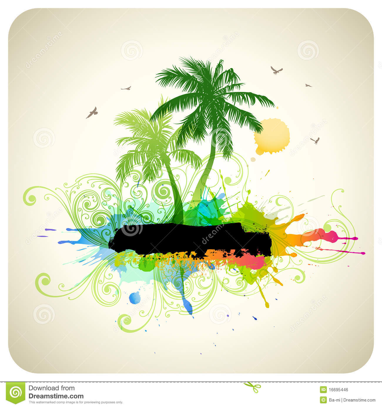 Beach Theme Card Stock: Tropical Abstract Background Royalty Free Stock Image