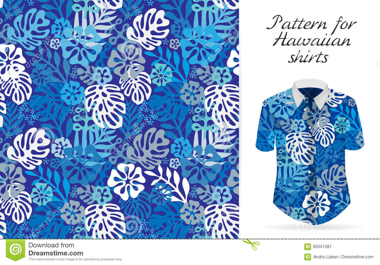 e8bbbca0a12 Tropical aloha pattern. Vector Hawaiian exotic flowers pattern on shirt  mockup. Vector plants and flowers seamless background. Blue color tropical  florals.