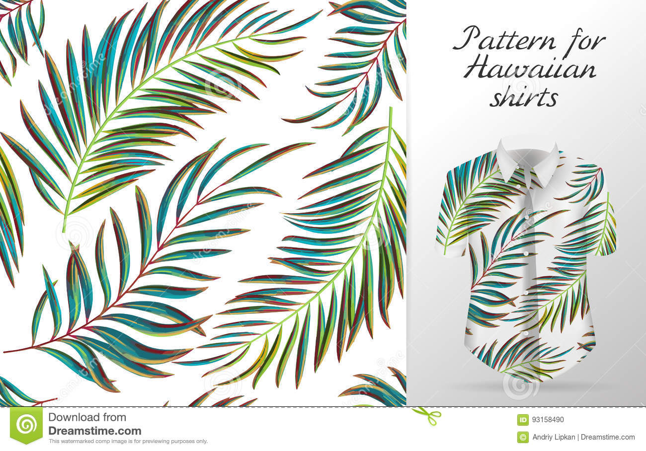 14c13e491f6 Tropical aloha pattern. Vector Hawaiian exotic leaf pattern on shirt  mockup. Vector plants seamless background. Green color palm leaves.
