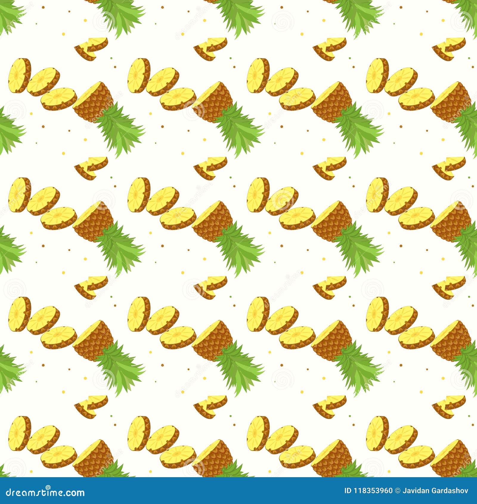 Tropical Ananas Pineapple Fruit Seamless Pattern On White