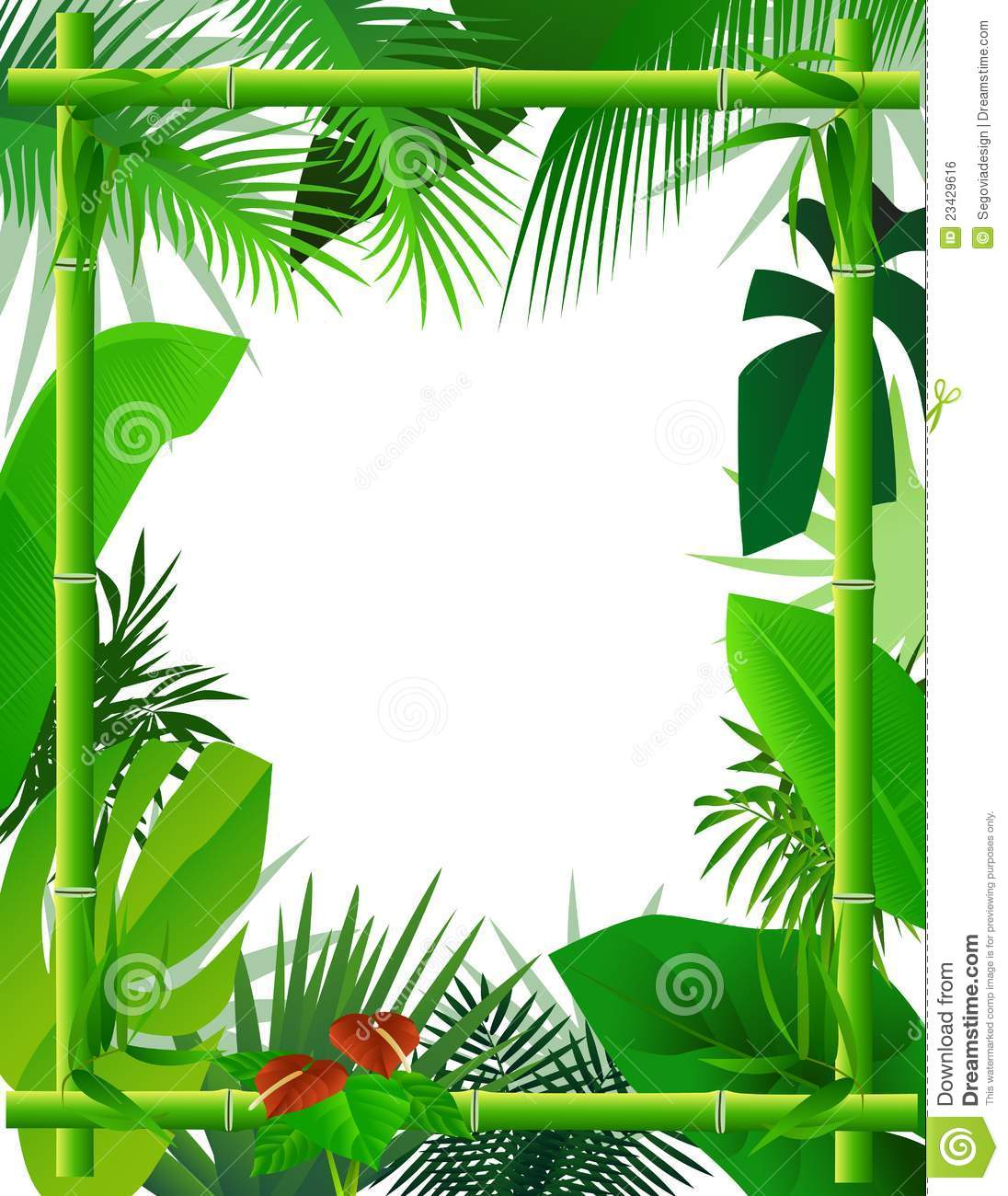Tropical Background With Bamboo Frame Royalty Free Stock