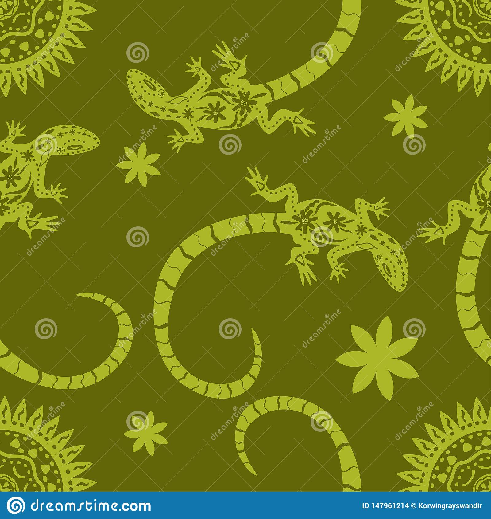Tropical background of flowers, sun and lizards. Seamless pattern Exotic vector illustration. Jungle flat print