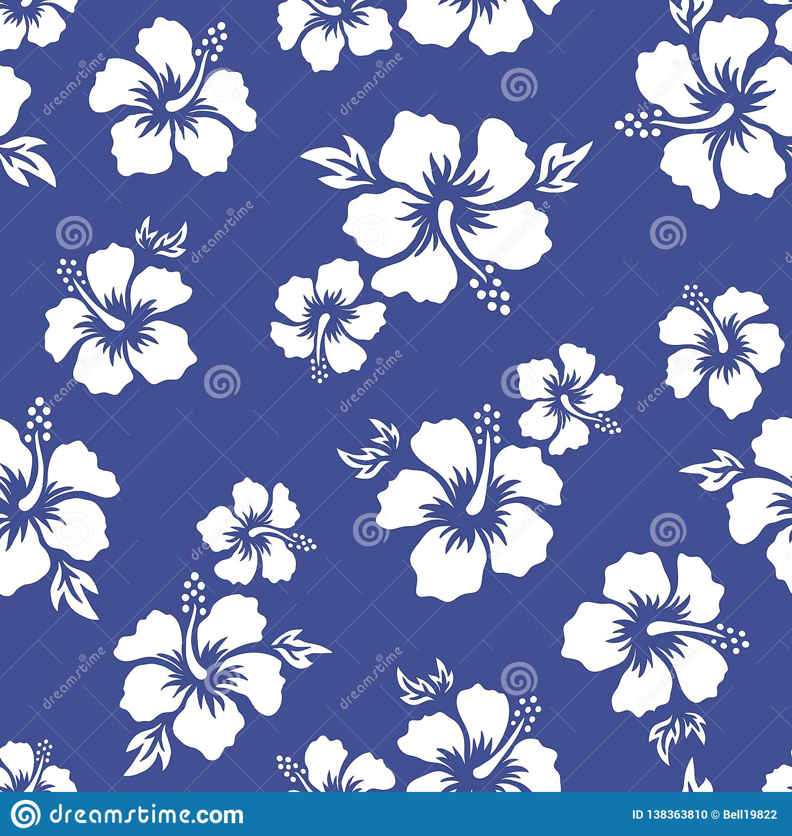 Tropical Background With Hibiscus Flowers Seamless Hawaiian Pattern