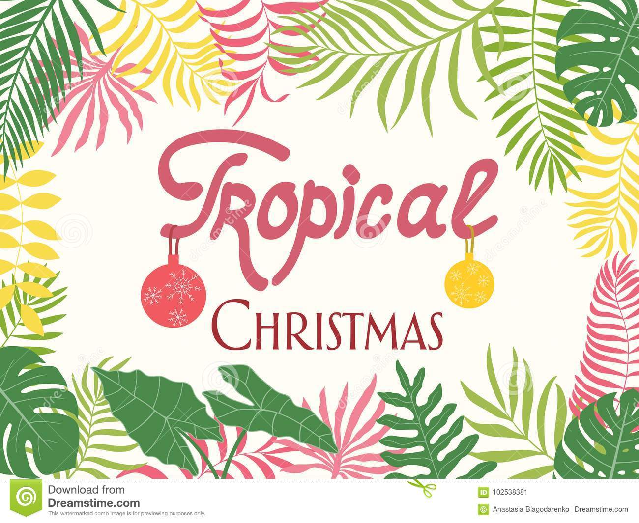 Tropical Christmas.Tropical Background With Palm Leaves Written Phrase