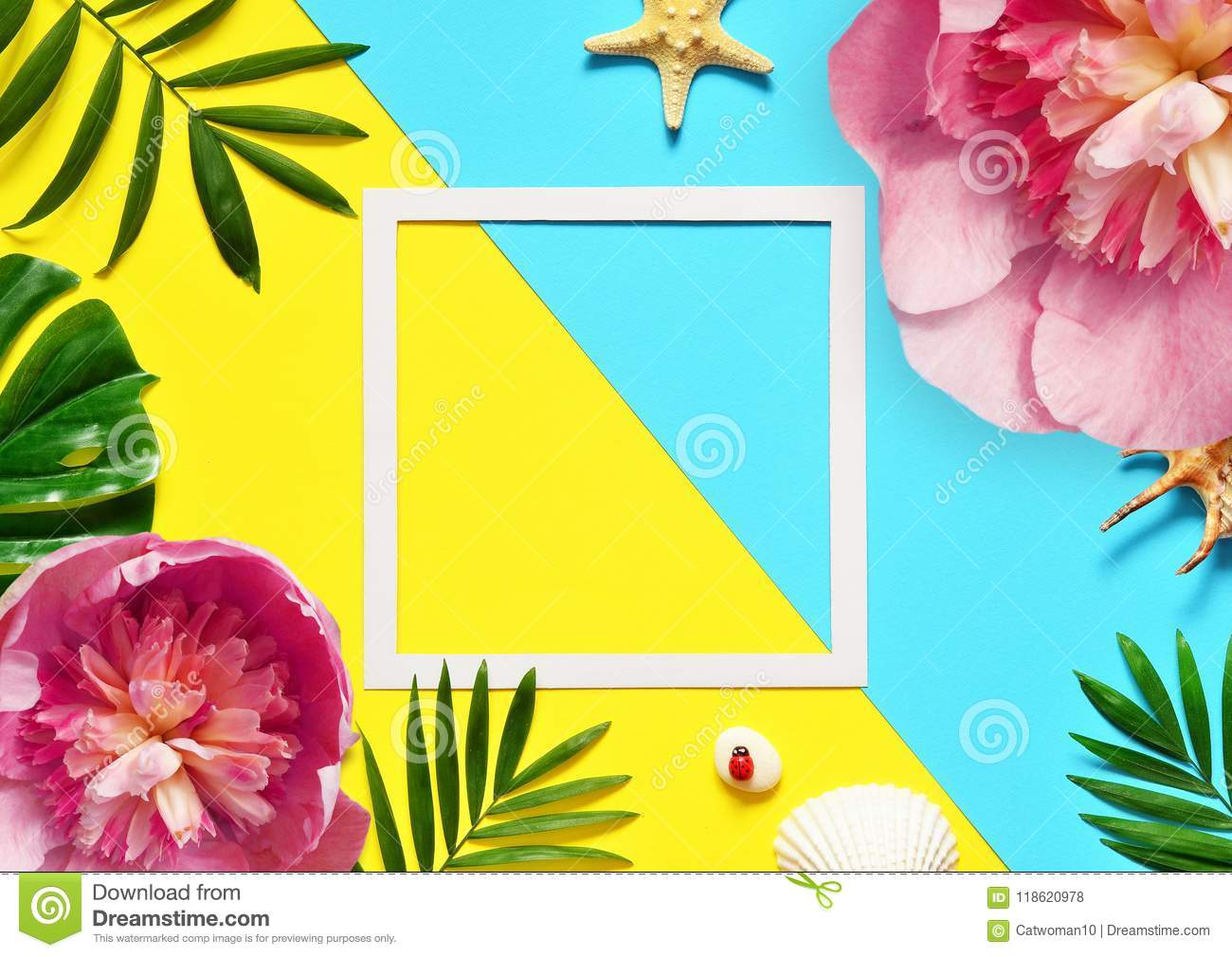 Tropical Background. Palm Trees Branches with starfish and seashell on yellow and blue background. Travel. Copy space.
