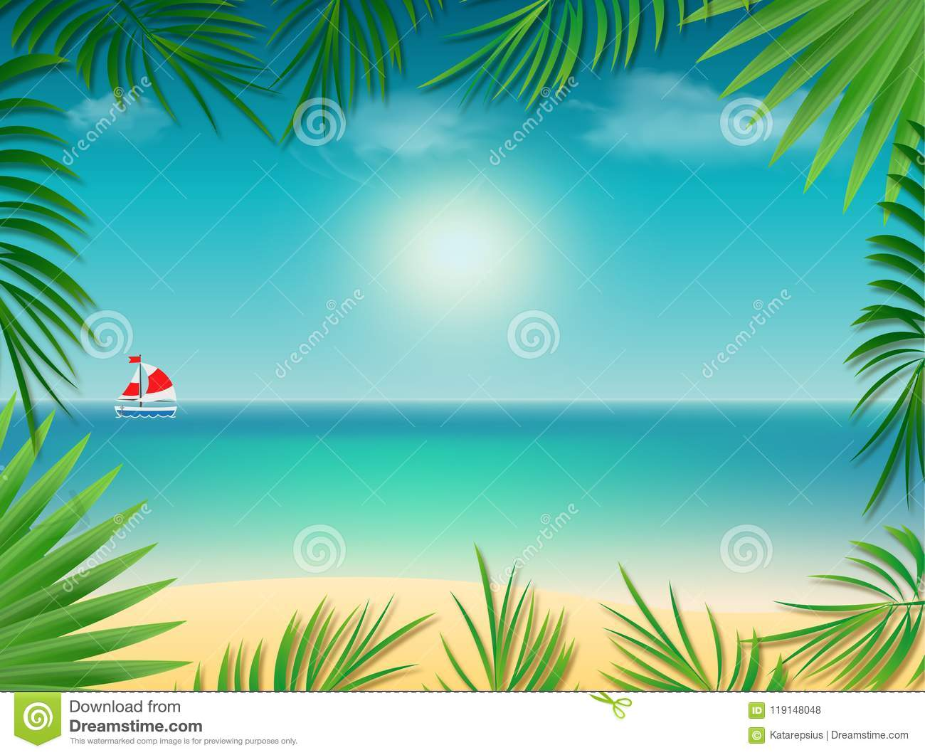 Tropical Background Frame With Sea Beach Framed With Palm Tree Leaves Stock Illustration Illustration Of Boat Resort 119148048