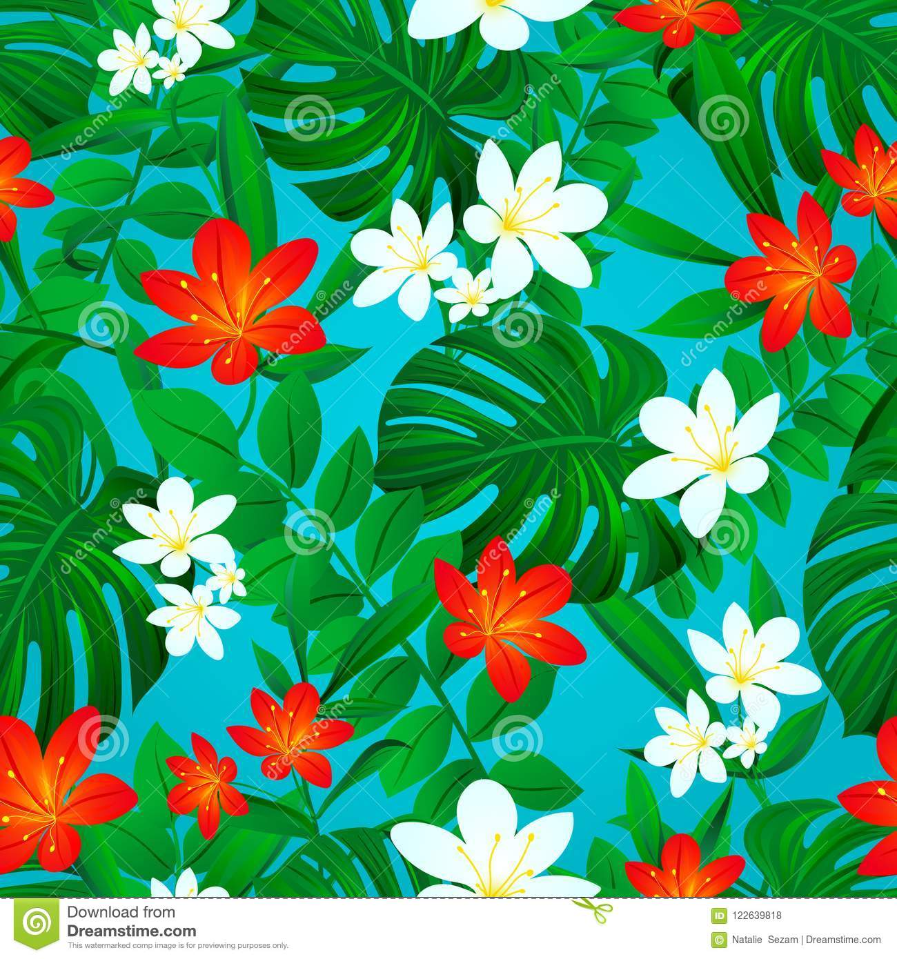 Tropical Background Summer Seamless Pattern Exotic Leaves