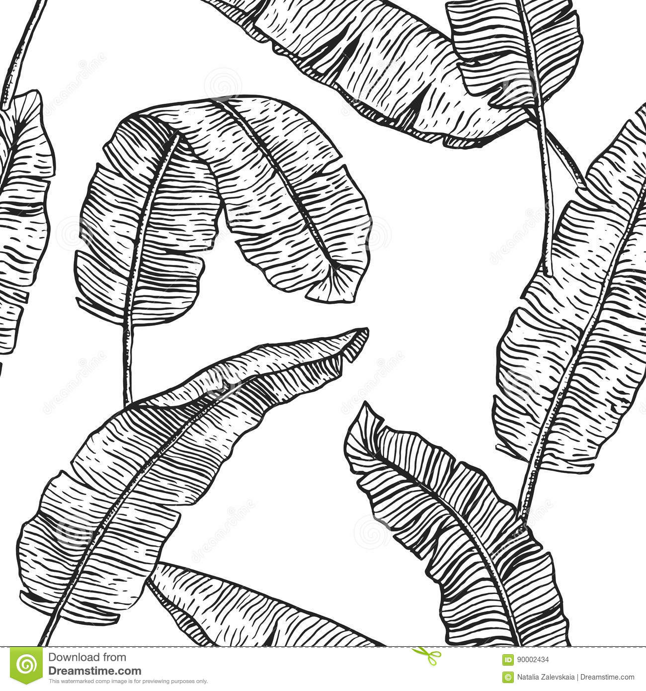 Banana leaves tropical seamless pattern monochrome line repeated background with palm leaves