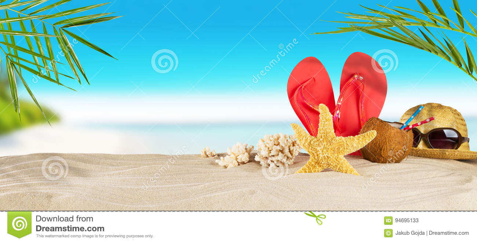 e1c5ff9bbc264 Tropical beach with sunbathing accessories
