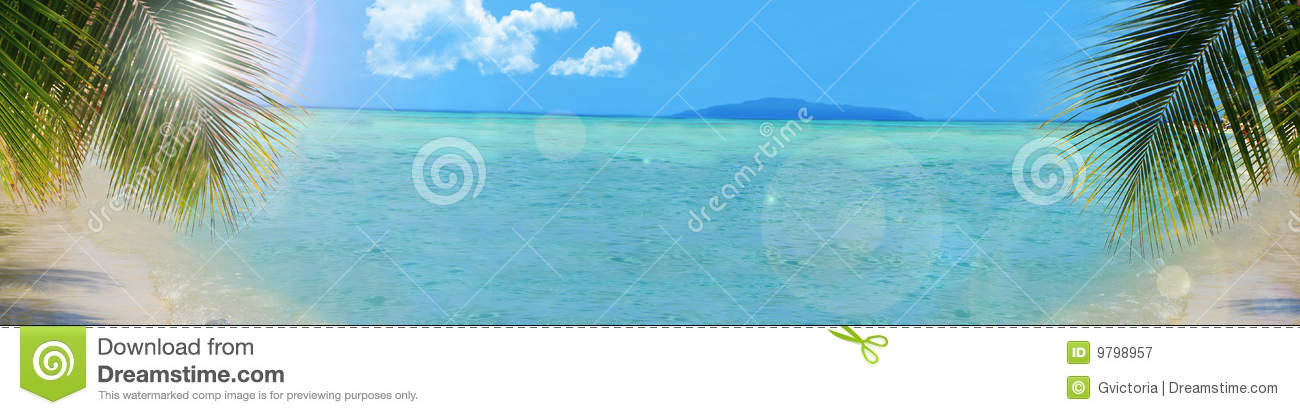 Tropical beach background banner