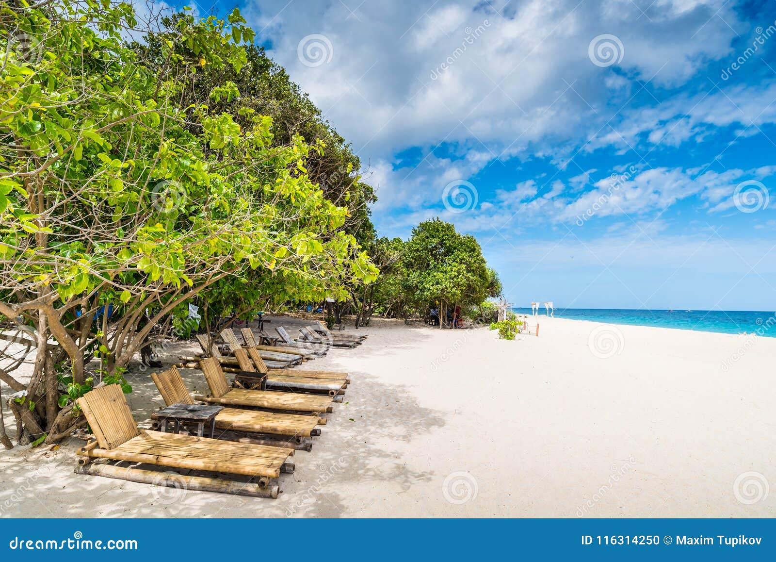 Tropical beach background from Puka Beach at Boracay island