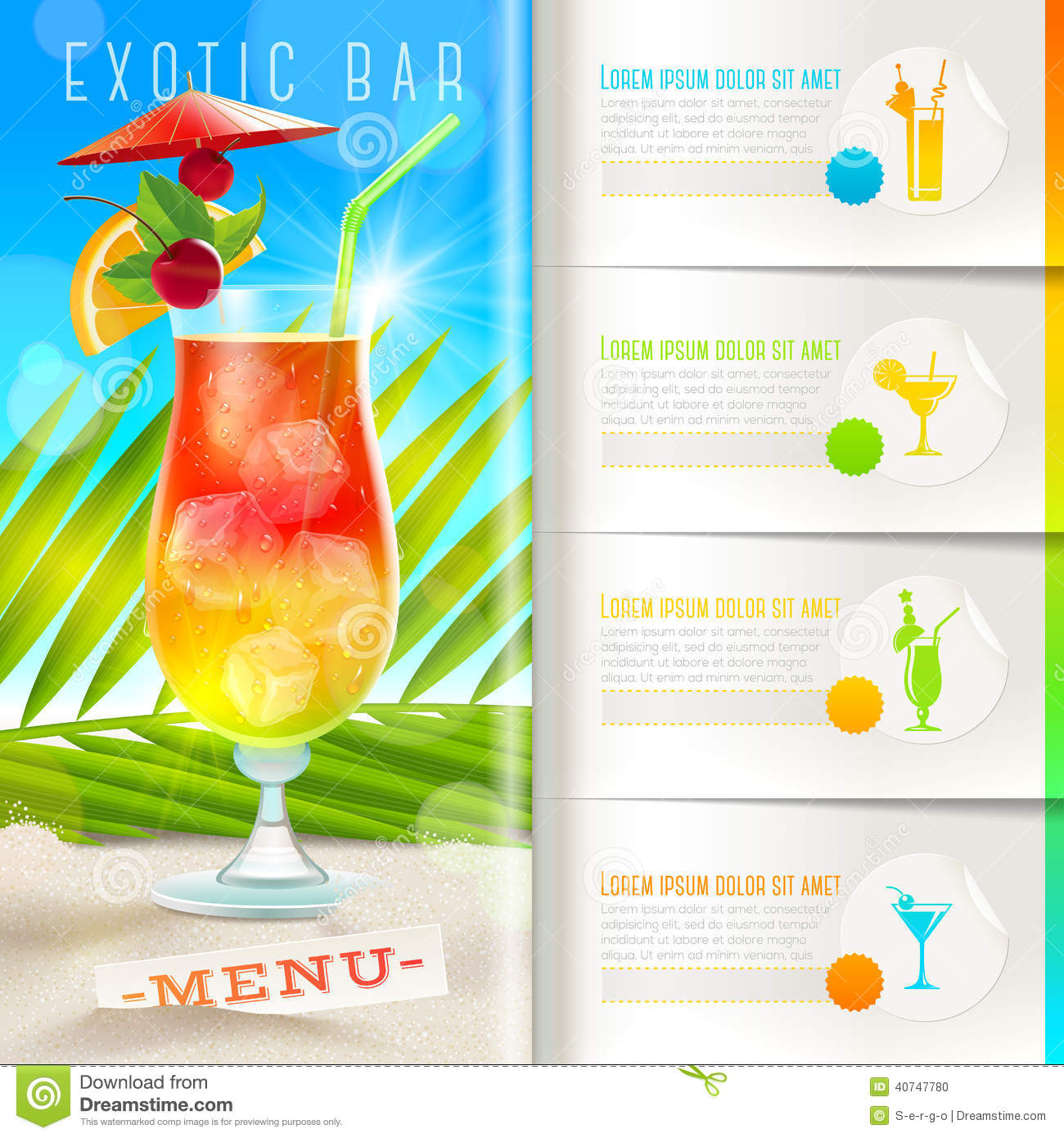 tropical beach bar menu stock vector