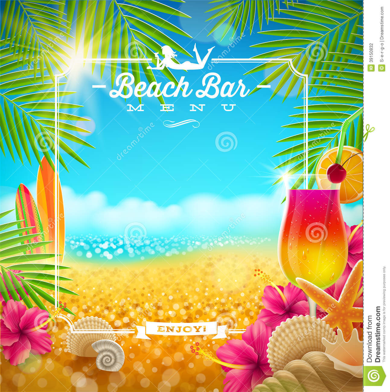 Tropical Beach Bar Menu Stock Vector Image 39150832