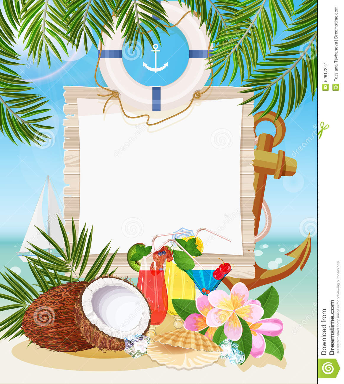 Beautiful Sunny Day At Tropical Beach Royalty Free Stock: Tropical Beach Bar Stock Vector
