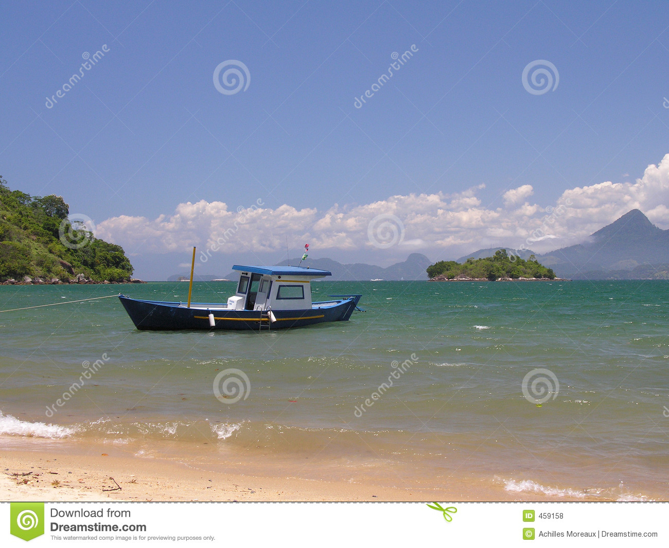 Tropical beach and boat