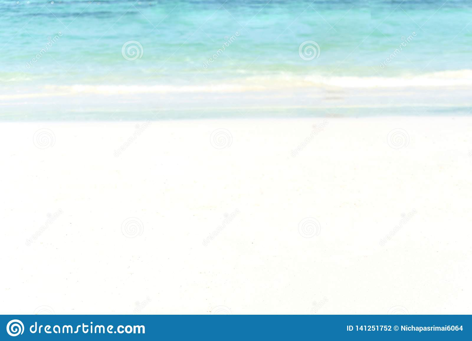 Tropical beach with bokeh sun light wave abstract background