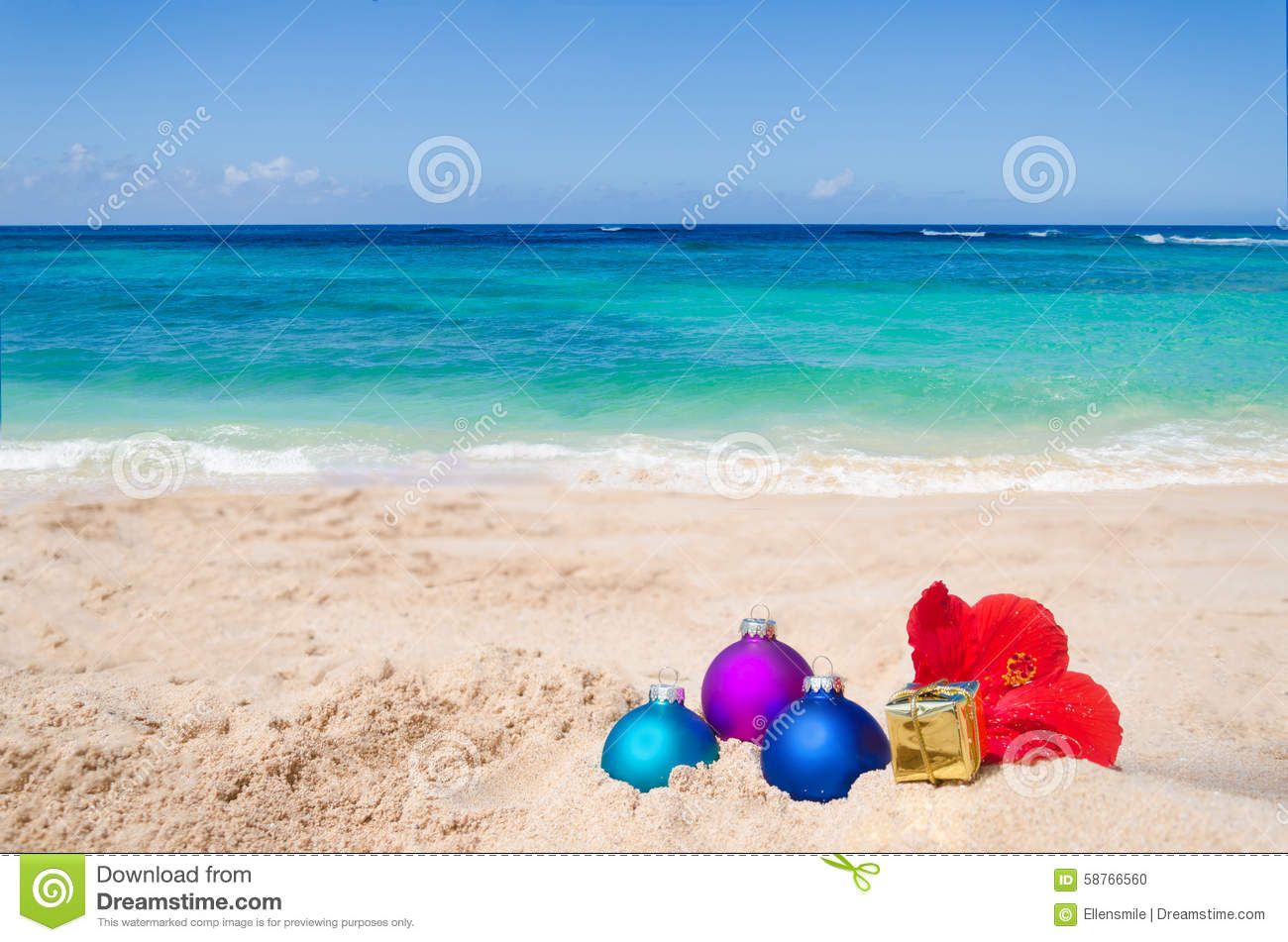 tropical beach christmas and new year background - Beach Christmas Pictures