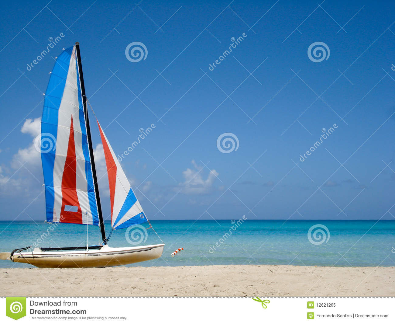 Tropical Beach With Colorful Boat Stock Image Image Of