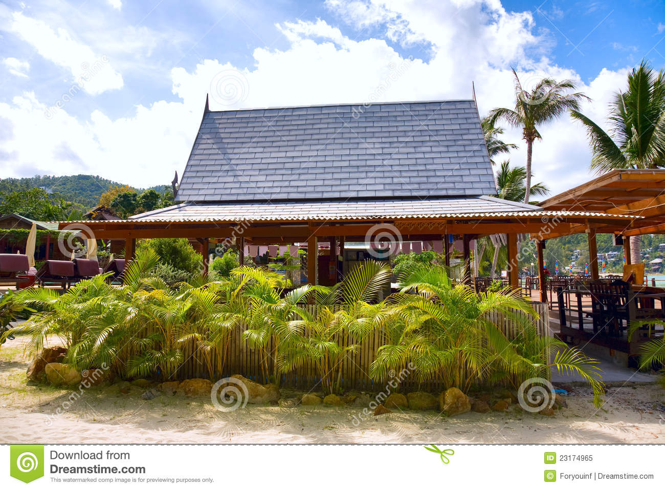 Tropical Beach With House And Coconut Palm Trees Royalty