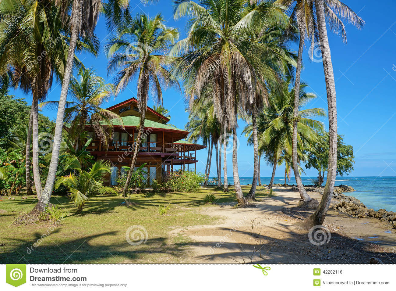 Tropical Island Beach House: Tropical Beach House With Coconut Trees Stock Photo