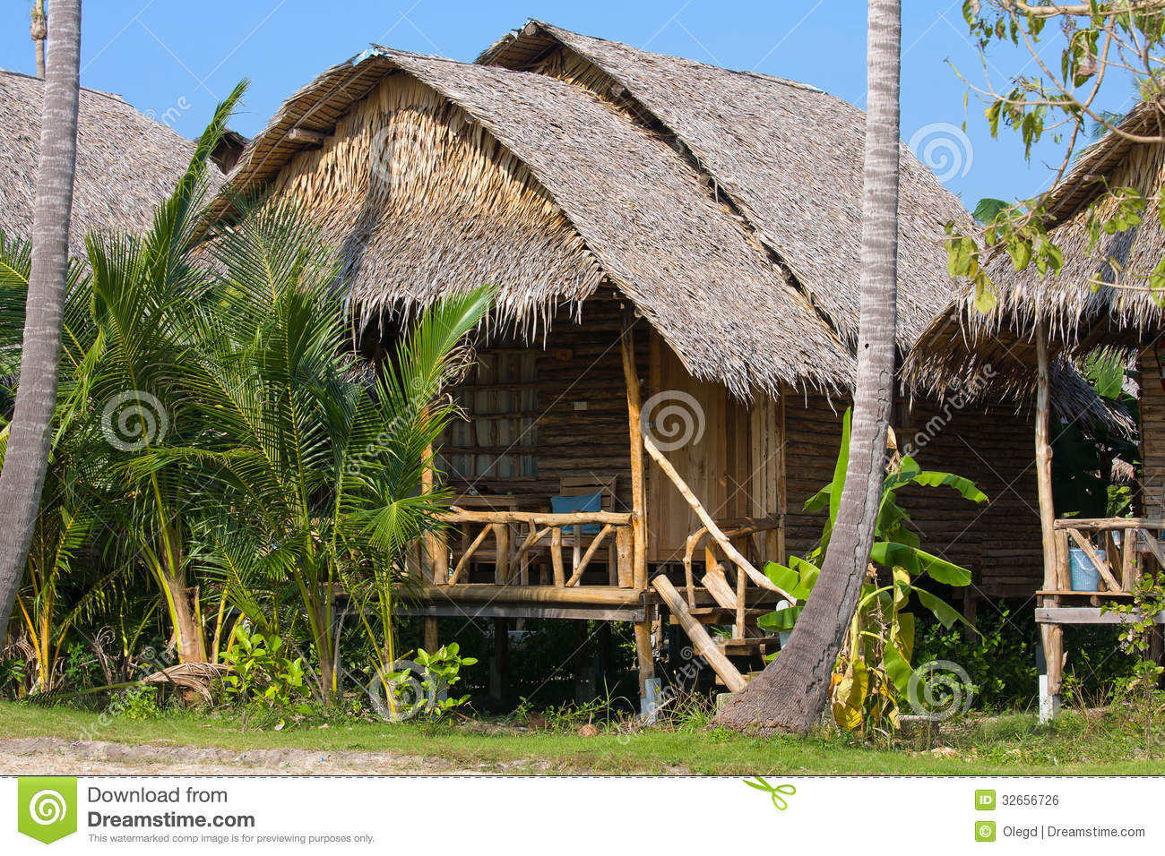 Tropical Island Beach House: Tropical Beach House Royalty Free Stock Image