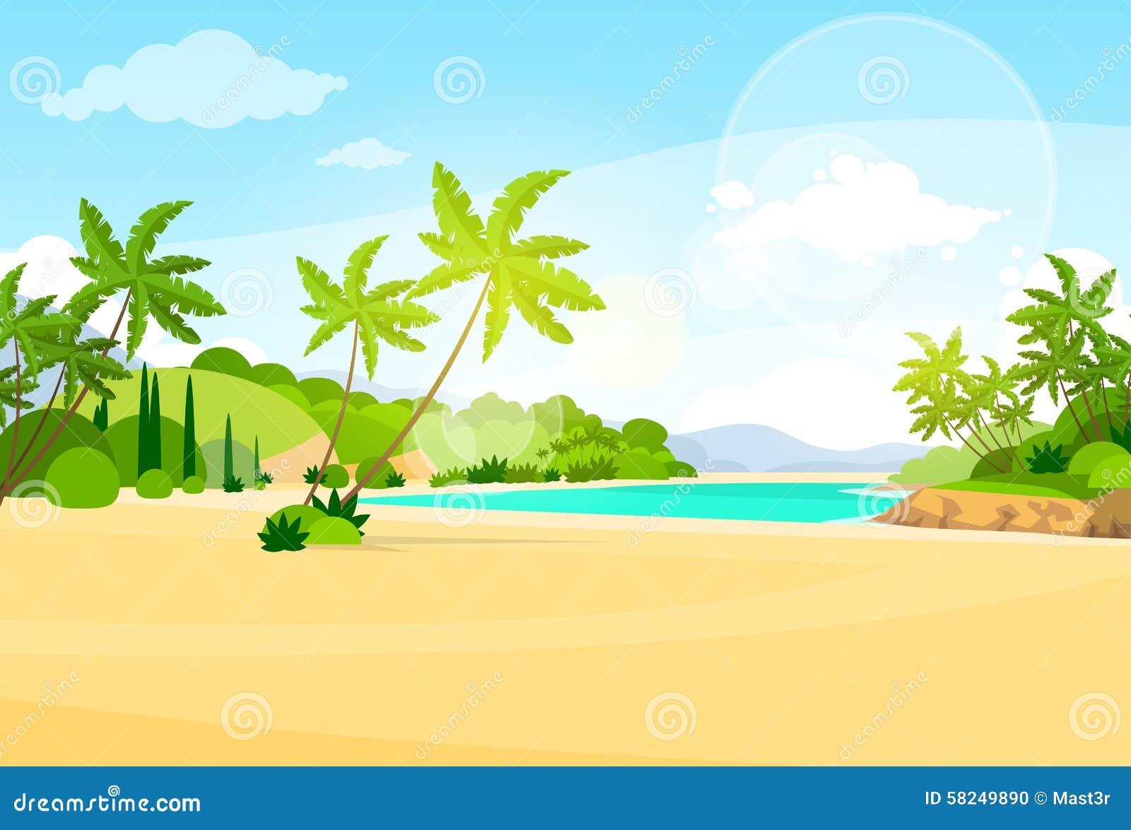 Tropical Island Cartoon: Tropical Beach Island Palm Tree Ocean Summer Stock Vector