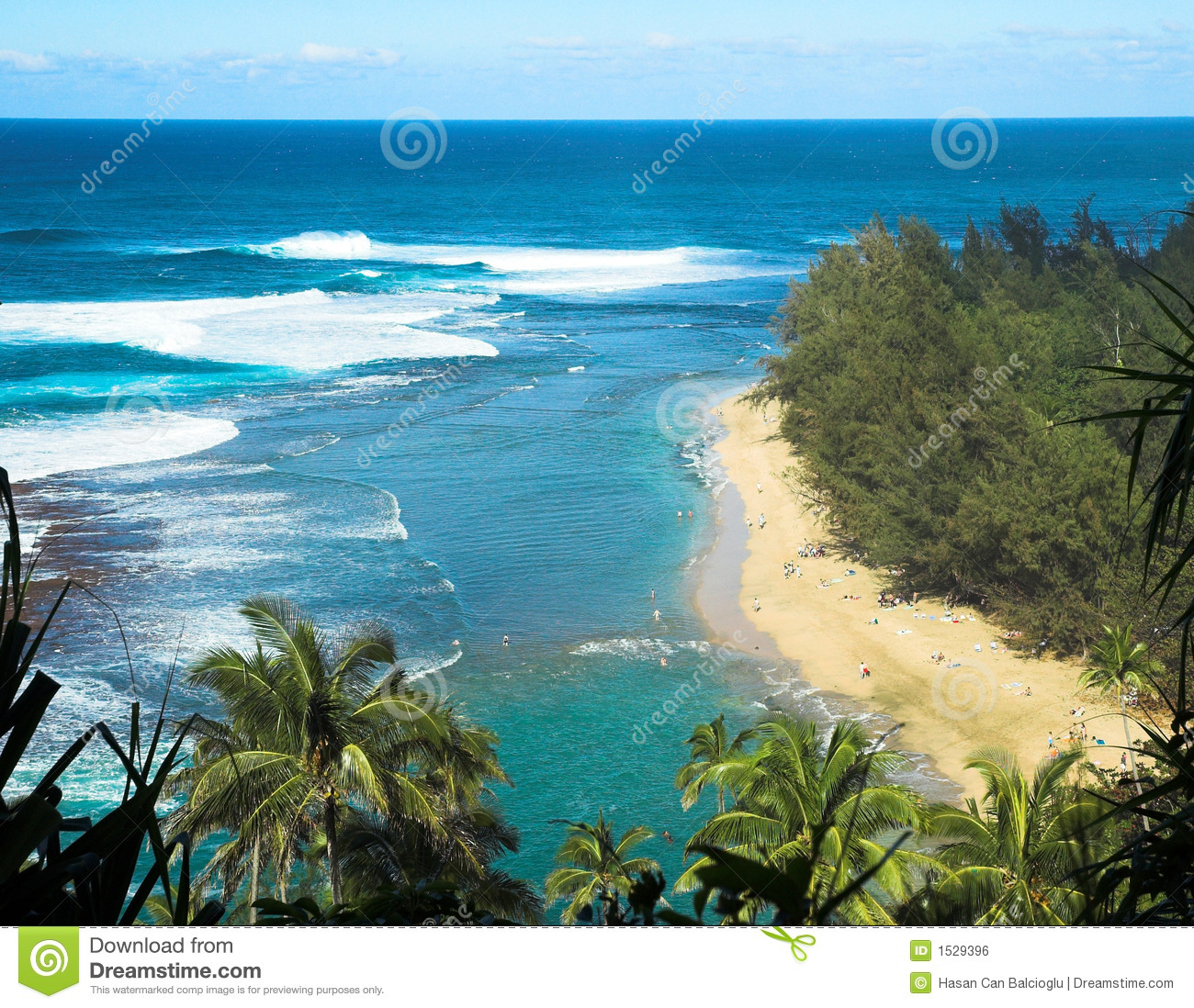 Kauai Beaches: Tropical Beach In Kauai, Hawaii Stock Photo