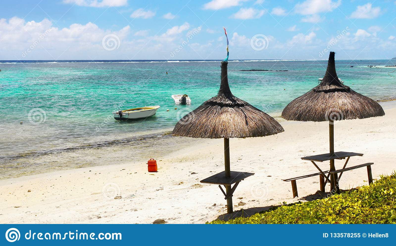 Tropical Island Beach Ambience Sound: Tropical Beach And Lagoon, Mauritius Island Stock Image