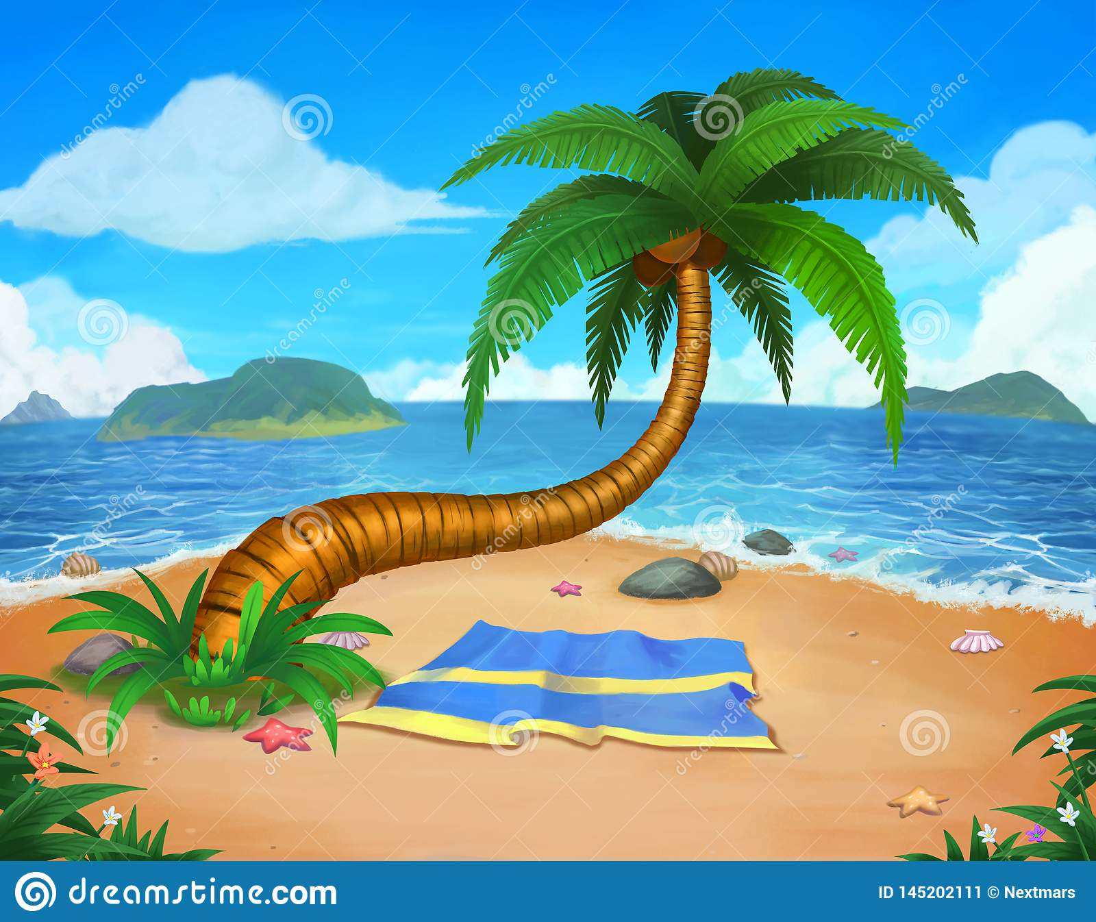Tropical Beach Landscape Background And Backdrop Concept