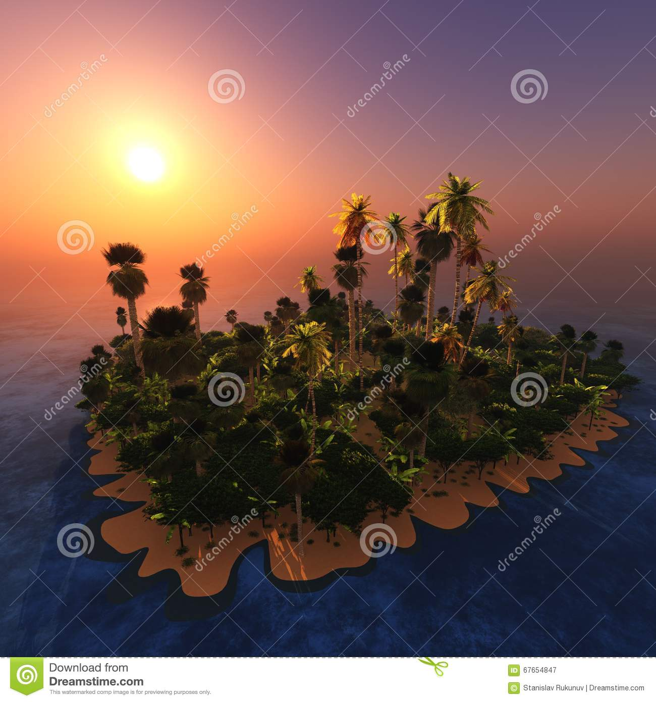 Island Beach Sunset: Tropical Beach And Palm Trees, The Sunset Over The Island