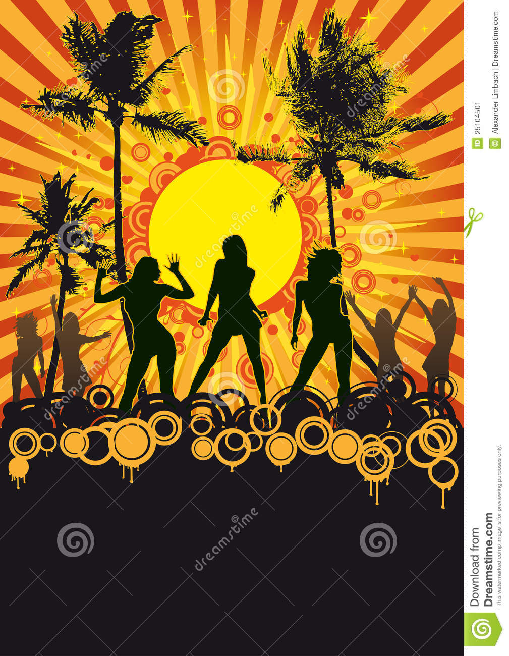 Illustration of silhouetted dancers at tropical beach party with ...
