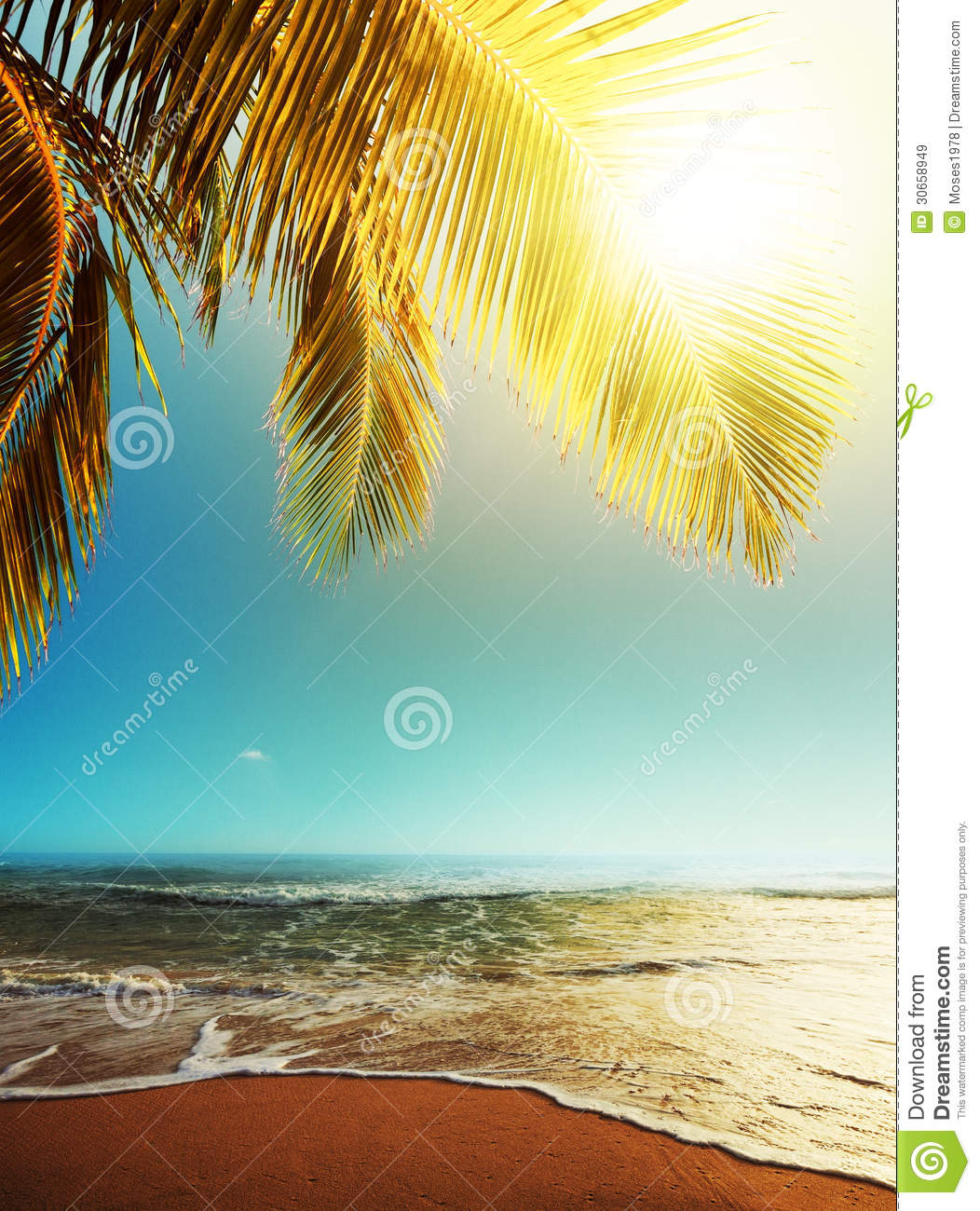 Tropical Beach And Peaceful Ocean: Tropical Beach Stock Image. Image Of Sunset, Peaceful