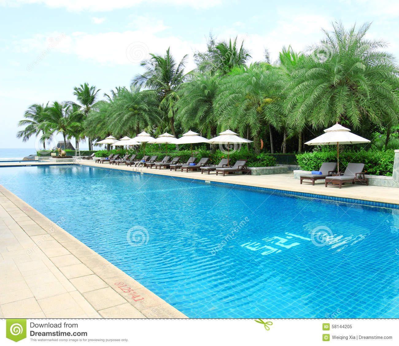 Tropical Beach Resort Hotel Swimming Pool Stock Image