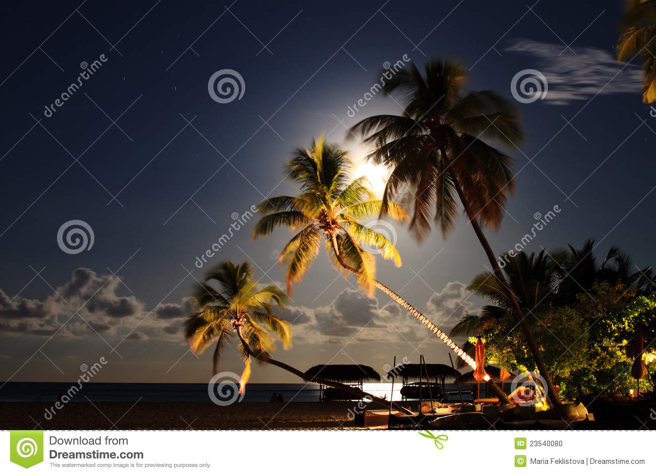 Tropical Beach Resort At Night. Stock Photo - Image: 23540080