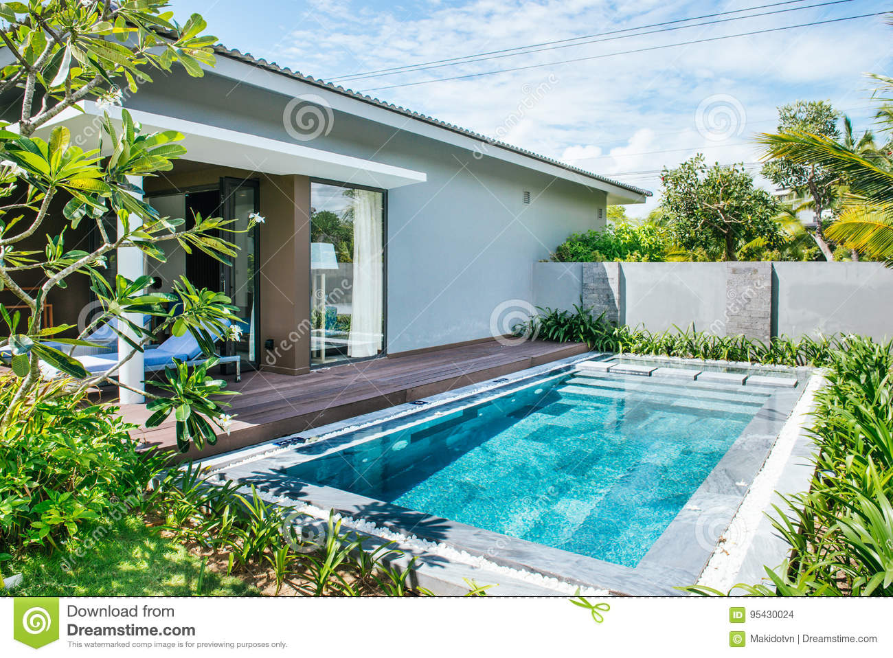 Tropical Beach Resort Swimming Pool Near Living Room Stock Photo Image Of Mansion Pool 95430024