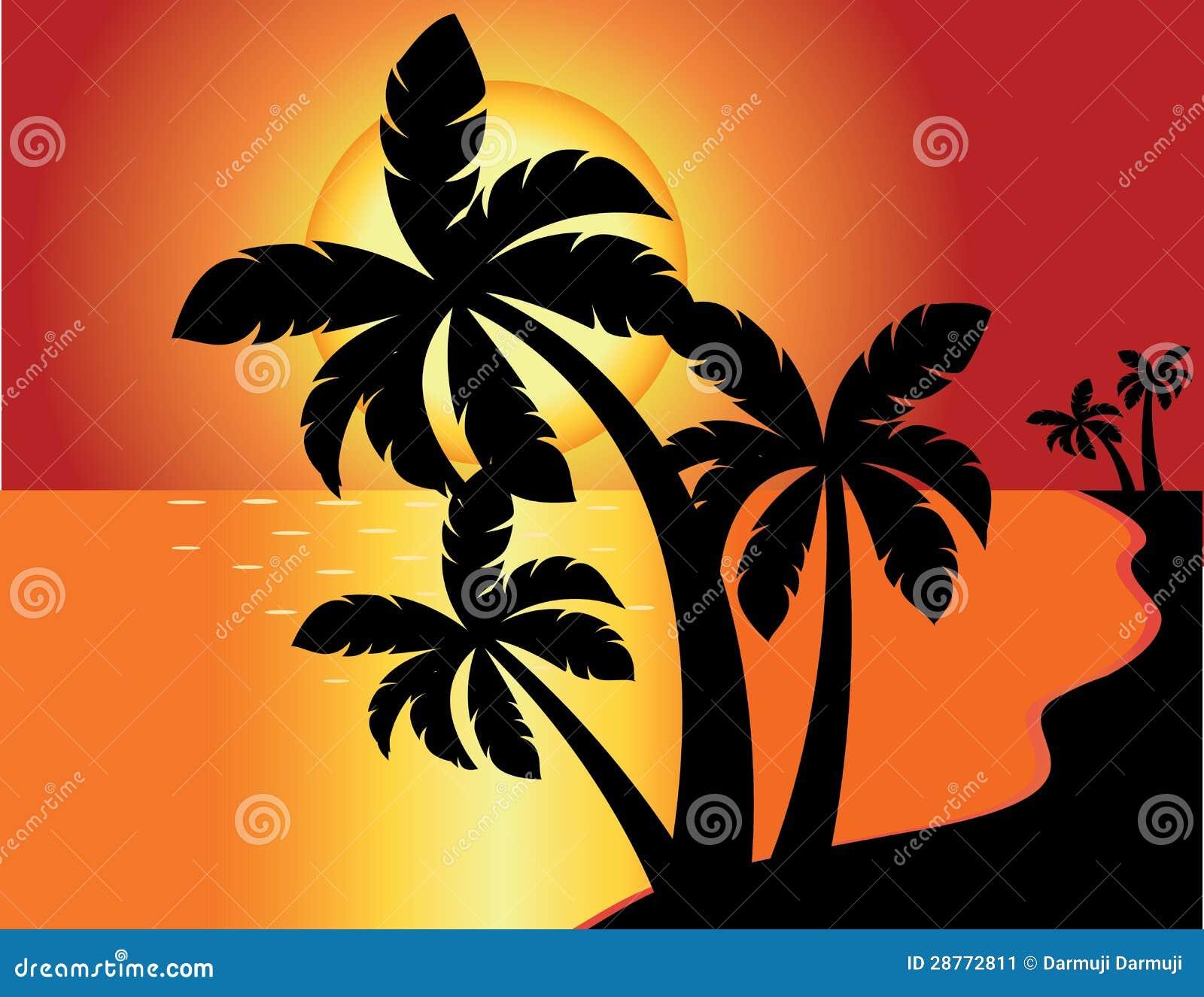 Tropical Beach Sunset Stock Vector. Illustration Of Ocean