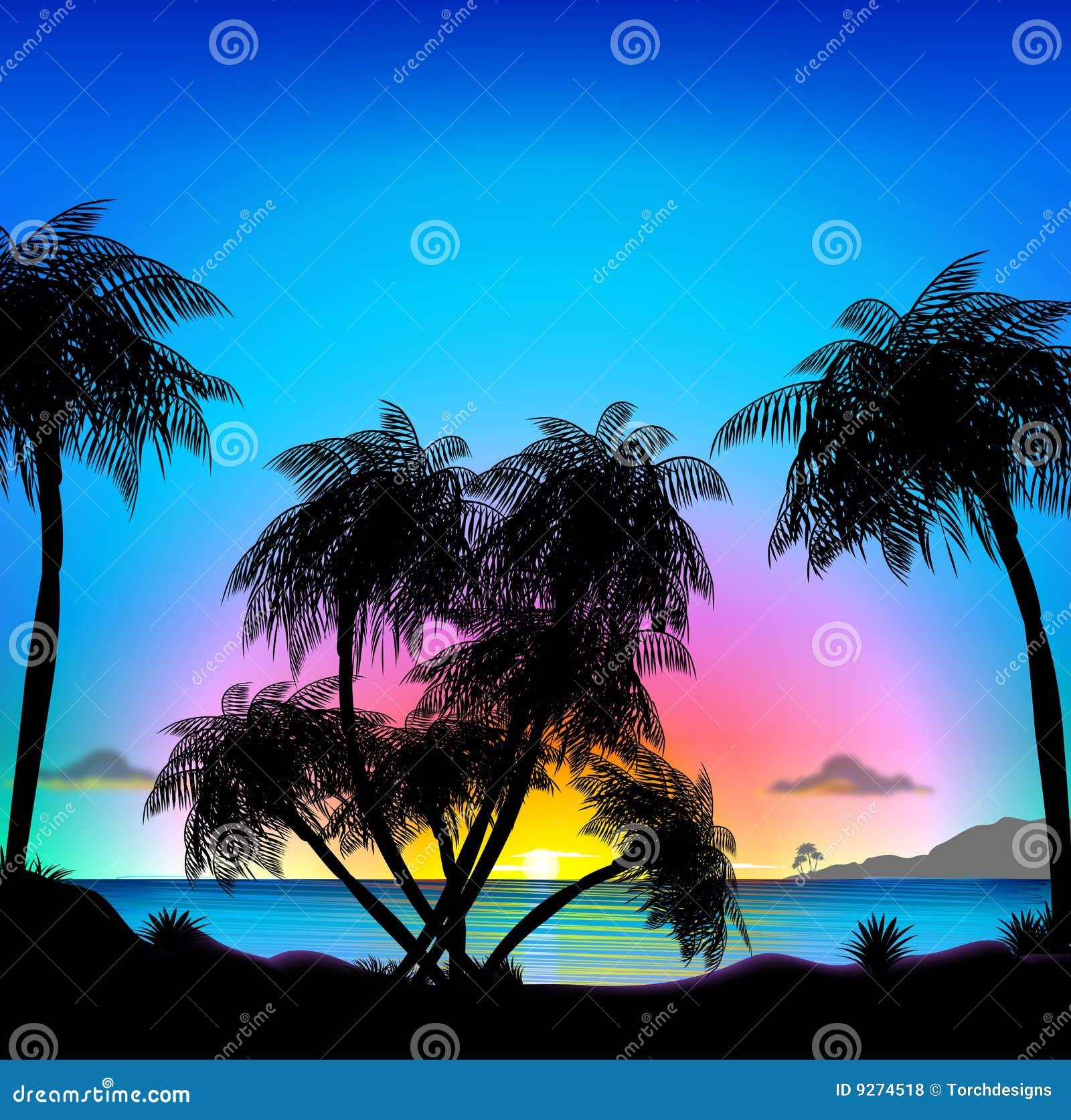 Tropical Beach At Sunset Stock Illustration. Illustration