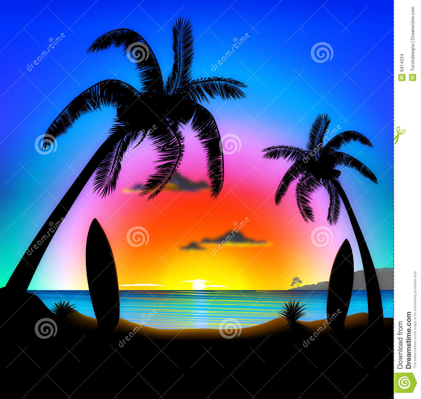 tropical beach at sunset surfing illustration stock